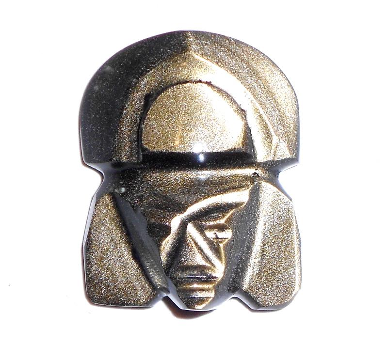 Masque Incas en obsidienne dorée 1801 : Bien être et..