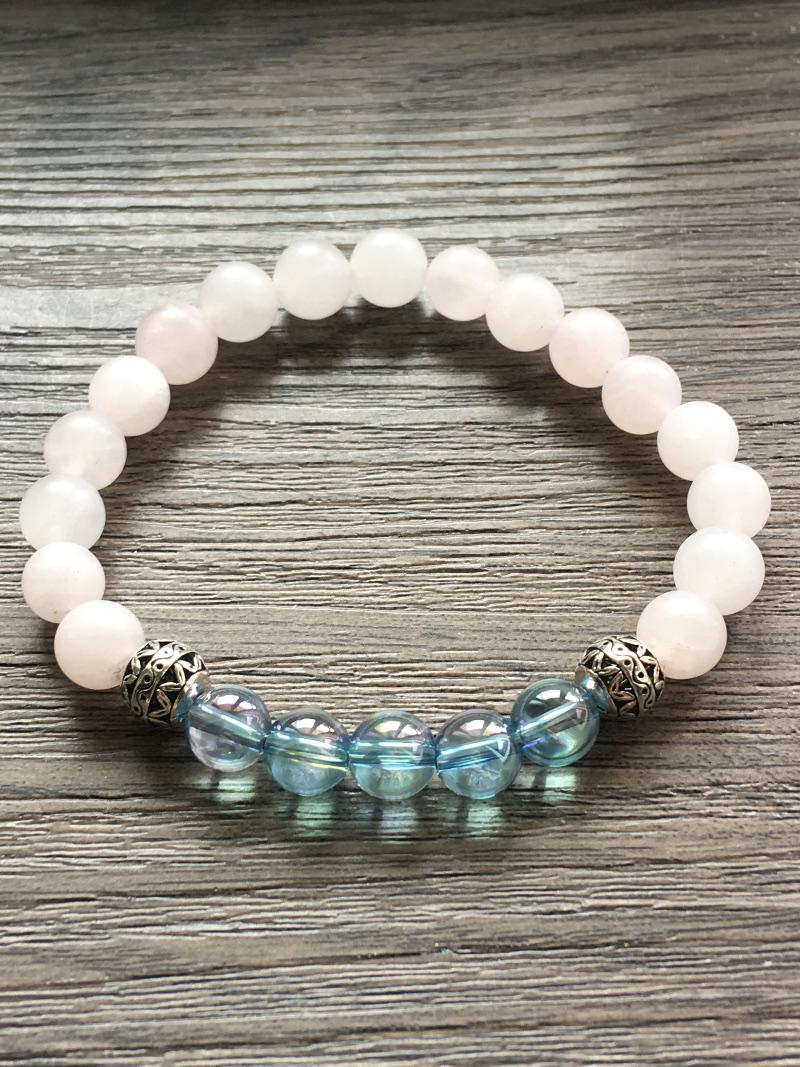 Bracelet en pierre quartz Aqua Aura et quartz rose Perles de 8mm 8mm : Bien être et Minéraux ...